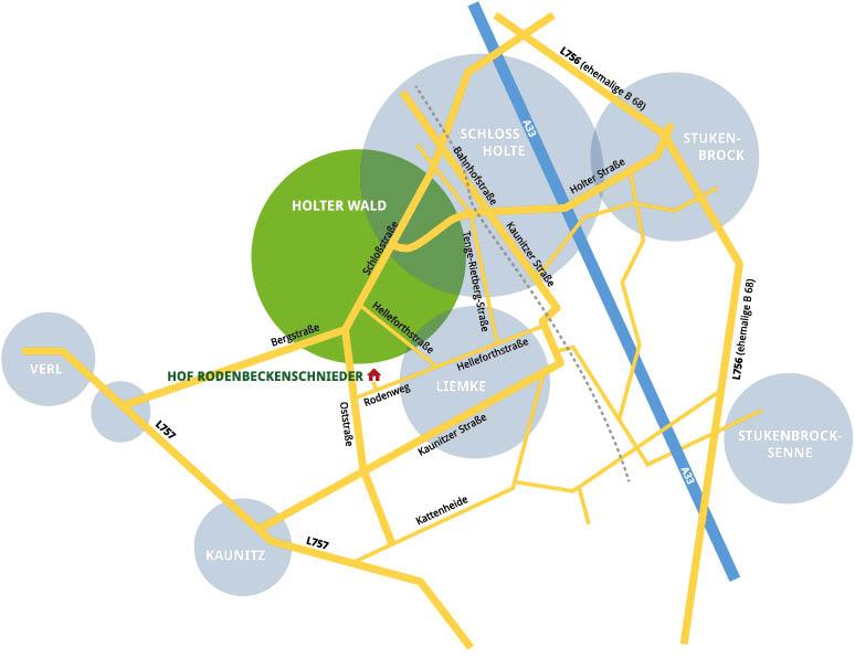 Anfahrtskizze zum Hof Rodenbeckenschnieder